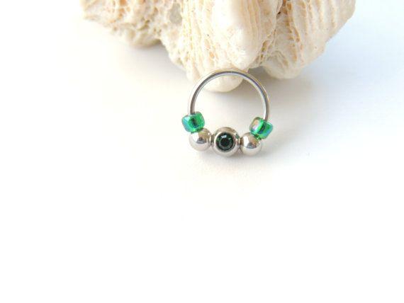 16g Captive Bead Septum Nose Ring Retainer by SeductiveBodyWorks