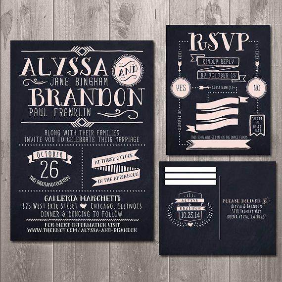 Modern Typography Chalkboard Wedding Invitation And RSVP