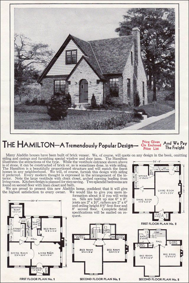 """1940 Aladdin Kit Homes Catalog- The Hamilton. WWII era house and home advertising """"The Hamilton is a modern English style plan that recalls the popular Revival homes of the 1920s. Though somewhat streamlined and updated, it still retains the character of its predecessors. The half-round door, forward gables with the steep pitch, and the multi-light windows provide lots of vintage character."""" it's a perfect, adorable little 1940s cottage house, just throw some rose gardens in the back&we're…"""