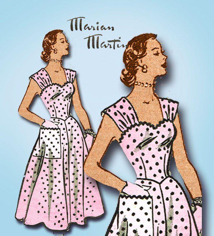 1950s Vintage Marian Martin Sewing Pattern 9062 Uncut Misses Sexy Sun Dress 30B