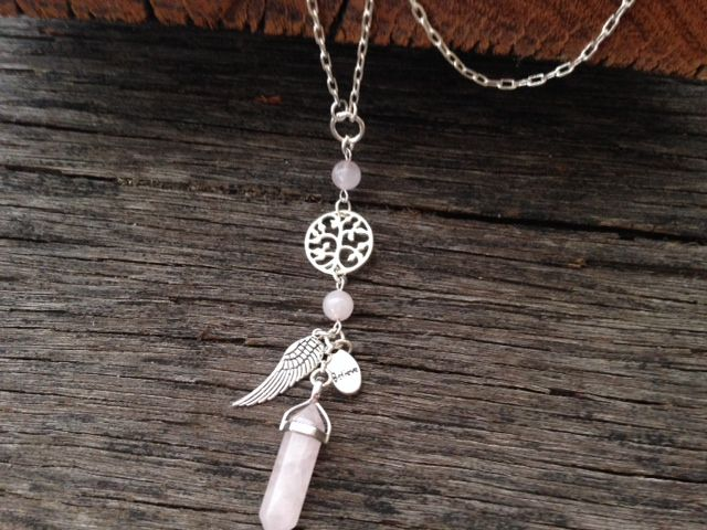 Crystal point necklace in Rose Quartz. http://www.xadajewellery.com/shop-by-collection/rose-quartz-crystal-point-necklace/