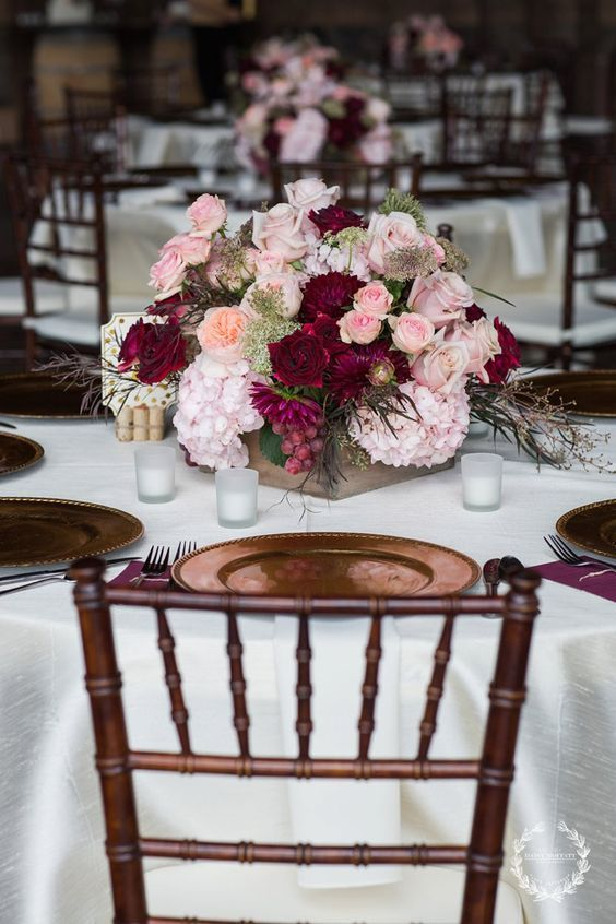 blush, merlot and marsala centerpieces with gold accents for a fall / http://www.deerpearlflowers.com/burgundy-and-blush-fall-wedding-ideas/2/