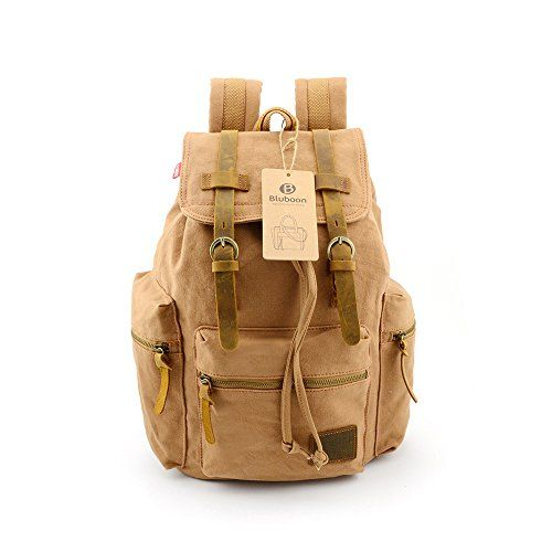 BLUBOON(TM) Vintage Men Casual Canvas Leather Backpack Rucksack Bookbag Satchel Hiking Bag (Ochre) BLUBOON http://www.amazon.com/dp/B00ODPVDAE/ref=cm_sw_r_pi_dp_oiCbvb1H0S92Z