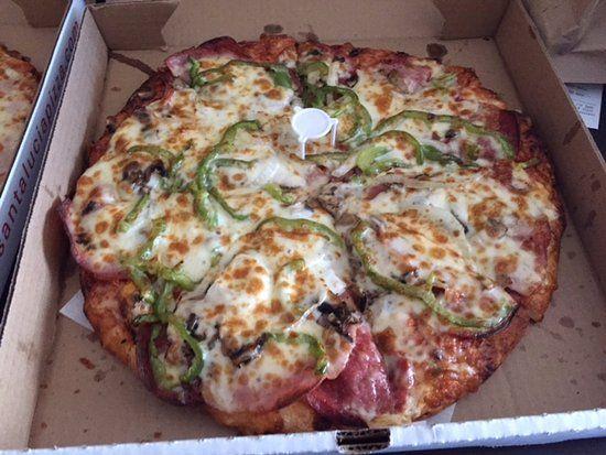 Combination pizza,  delivered to hotel, Santa Lucia Pizza Winnipeg 4 St Mary's Road, Winnipeg