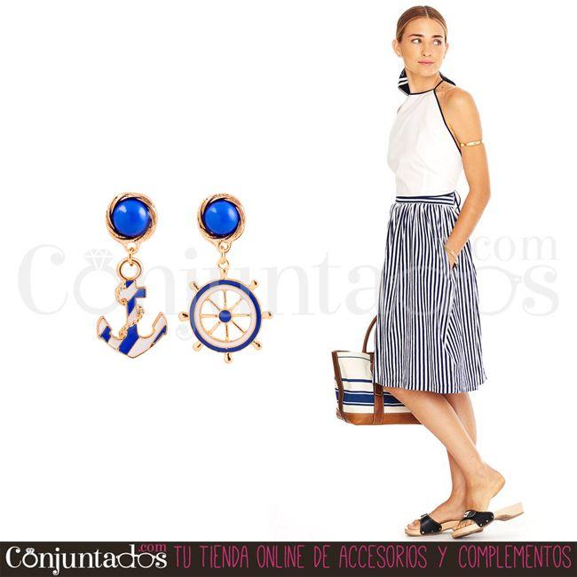 Los bonitos, veraniegos y ligeros #pendientes Sailor, un accesorio de temática náutica de lo más adecuado para combinar con tu maleta estival ★ 9,95 € en http://www.conjuntados.com/es/pendientes-sailor.html ★ #novedades #earrings #conjuntados #conjuntada #joyitas #lowcost #jewelry #bisutería #bijoux #accesorios #complementos #moda #fashion #fashionadicct #picoftheday #outfit #estilo #style #GustosParaTodas #ParaTodosLosGustos