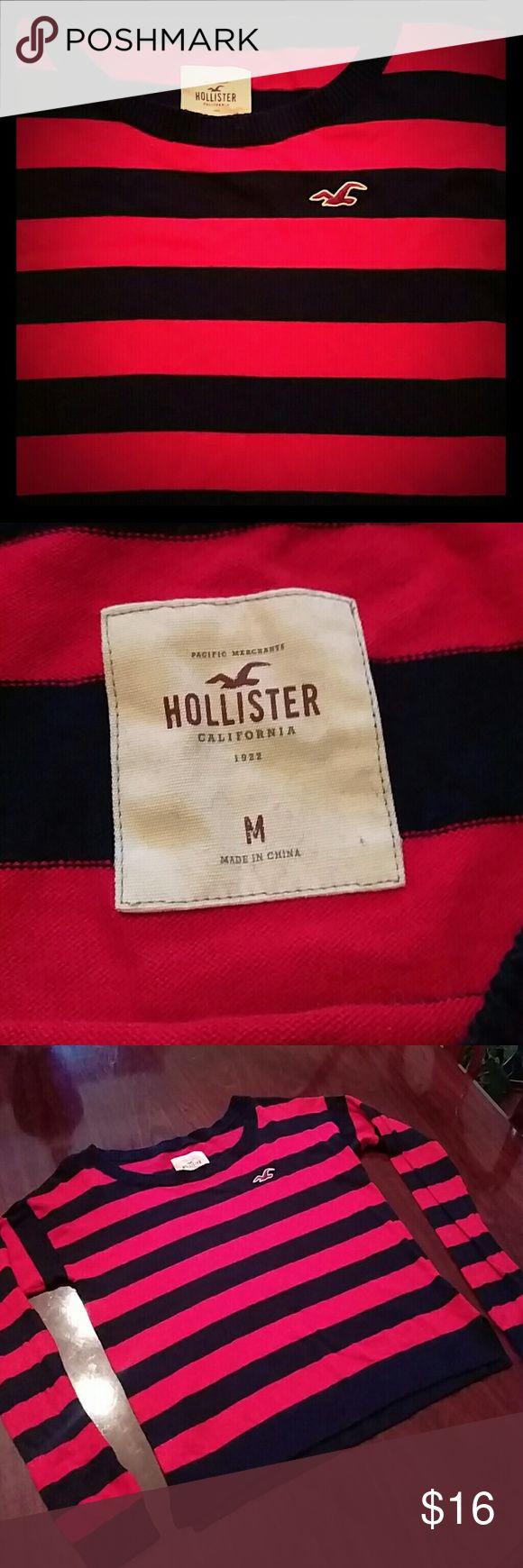 Beautiful women's Hollister light weight sweater Beautiful red striped women's M Hollister light weight sweater. Hollister Tops Sweatshirts & Hoodies