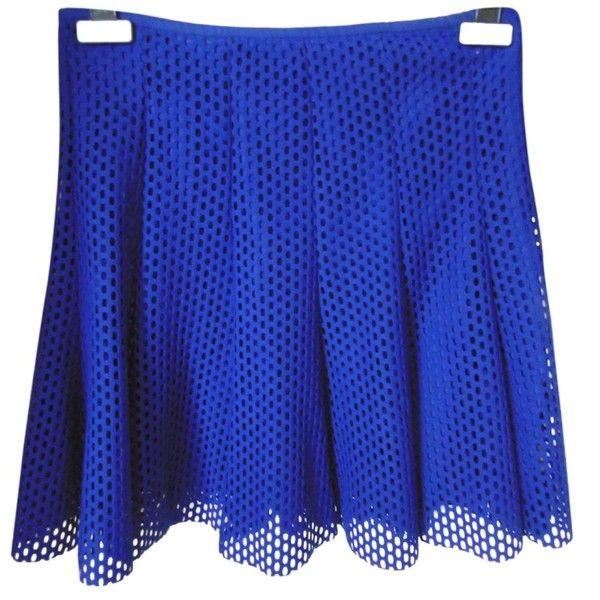 Pre-owned Sandro Blue Polyester Skirt ($68) ❤ liked on Polyvore featuring skirts, blue, women clothing skirts, cobalt blue skirt, summer skirts, short ruffle skirt, frilly skirt and blue knee length skirt
