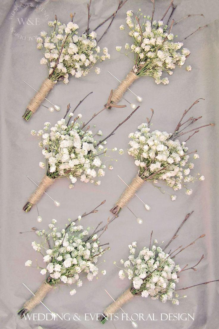 Gypsophila Twigs Amp Twine Buttonholes Simple But