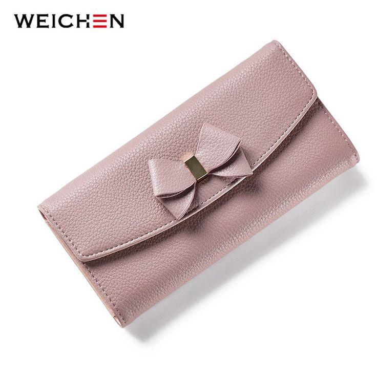 WEICHEN Neue Design Bogen Frauen Lange Brieftasche Solide Einfache HASPE arbeiten Abendkupplung Marke Dame Geldbörse Weiblichen Telefon Karte Münze tasche