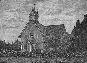 Кирха Святого Михаила в Никулясах, гравюра, нач. 20в.