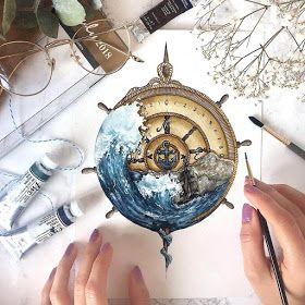 Tiny Watercolors Compasses Light Bulbs and Trees   – Projects to Try