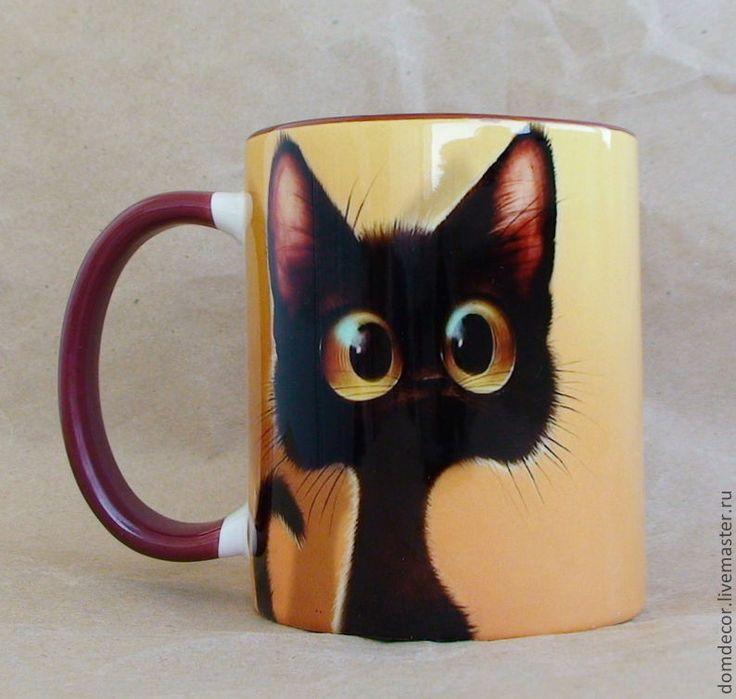 """Купить Чашка """"Бывает, просто молчишь..."""" - кот, кошка, котенок, чашка, кружка, афоризм"""