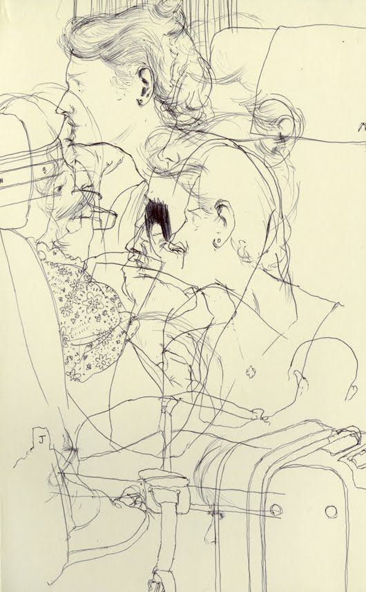 Kenichi Hoshine, Sketch on train from Montpellier, France to Barcelona, Spain - Ballpoint pen on paper, 2010