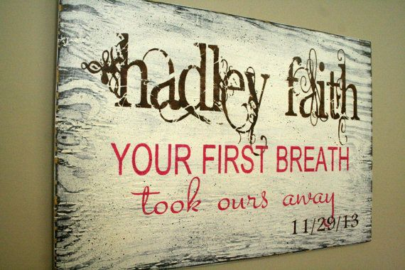 Your First Breath Personalized Nursery Wallhanging Custom Nursery Sign Shabby Chic Nursery Baby Gift Baby Shower Distressed Wood Ivory on Etsy, $50.00