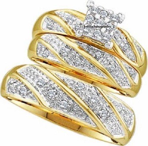 14K Yellow Gold Round Diamond Wedding Trio Set Bridal Engagement Ring 2.60 Tdw #br925Silverczjewelry #EngagementWeddingAnniversaryPartyDailyWear
