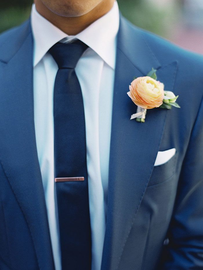 Navy and copper wedding. Dapper groom. Suit Supply blue suit. Express navy tie. Rose gold tie clip. Groom's boutonniere. J Crew white linen pocket square.