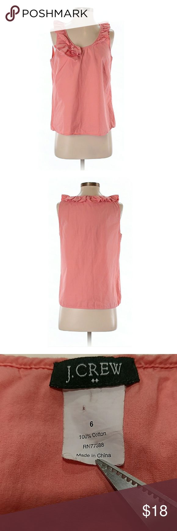 """J Crew Sleeveless Coral Blouse Great condition. 32"""" chest, 22"""" long. Ruffle & rose detail. All pictures are of the actual item that you will receive. Smoke-free home. J. Crew Tops Blouses"""