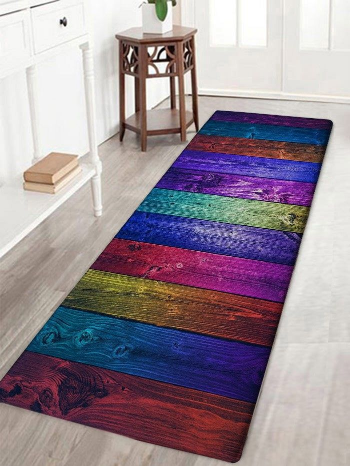 Colorful Wood Grain Background Print Floor Rug
