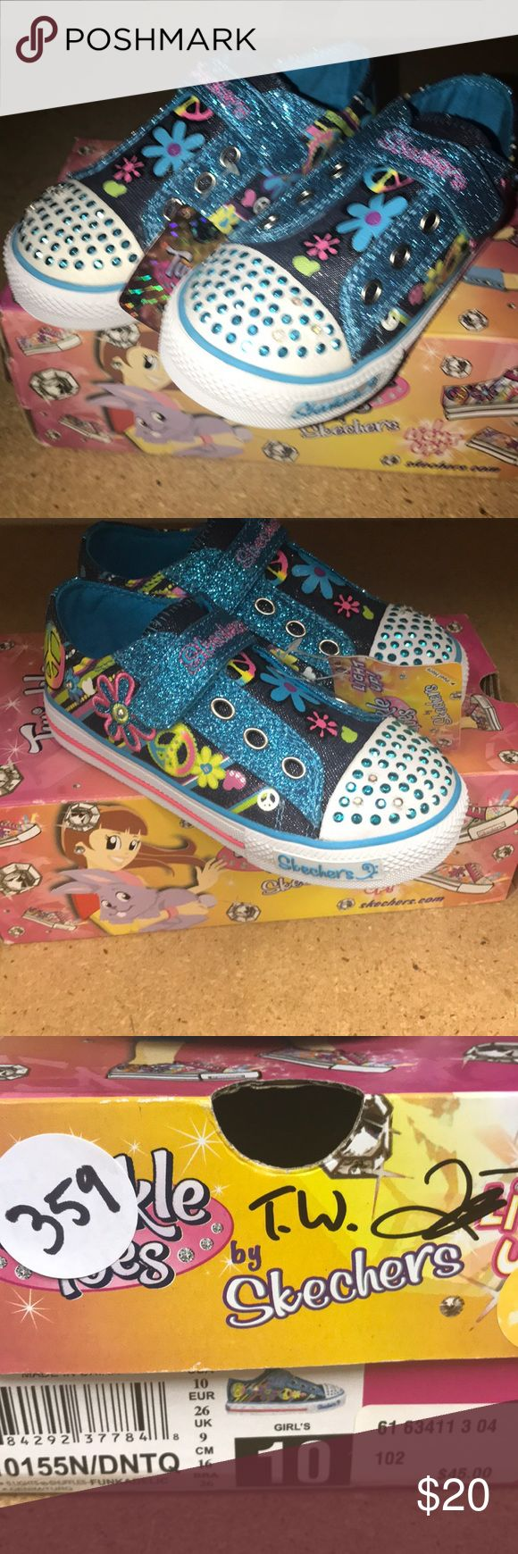 Twinkle Toes Skechers Sneakers Shoes for girls 10 Brand new in the box with tags.  So cute blinking twinkle toes Skechers  sneakers for your little girls.  Got this for my little one but she's too big for this size.  So they are brand new! Skechers Shoes Sneakers
