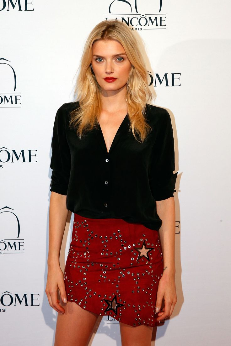 Lily Donaldson's star-studded suede mini at Lancôme's 80th birthday party. Need. It. Now. (The lip colour is pretty immaculate, too.)