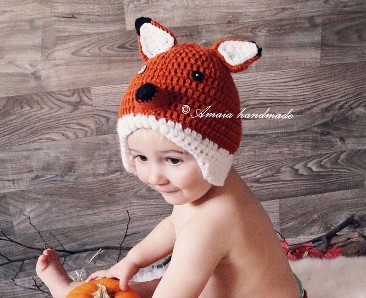 Crochet fox hat, baby fox hat, newborn fox hat, baby fox outfit, crochet fox outfit, newborn photo prop, baby photo prop, baby animal hat by Amaiahandmade on Etsy