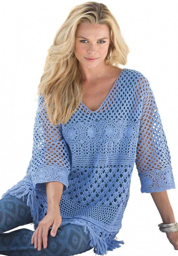 Crochet tunic - results from brands MOA, New Media, Unique Bargains, products like Venus Women's Plus Size Crochet Fringe Tunic Tops - White,