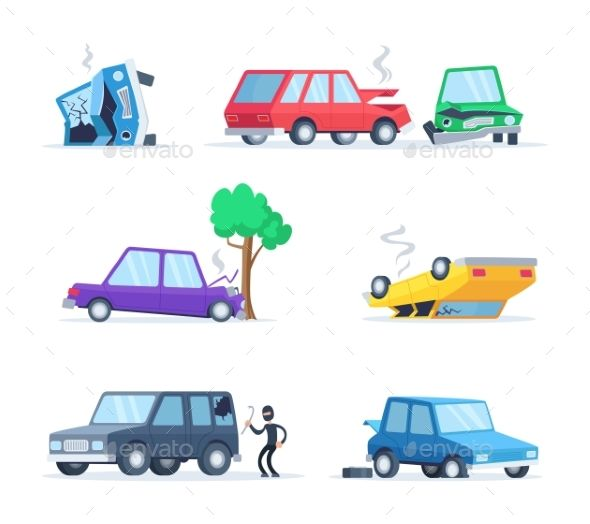 Vector Pictures Set Of Different Accidents Auto Repair Car Car Collection