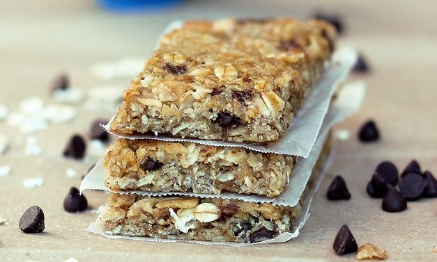 Quaker-Style Chewy Granola Bars Recipe Lunch and Snacks, Desserts with rolled oats, baking soda, rice, oat flour, pure vanilla extract, coconut oil, agave nectar, stevia, brown sugar, salt, applesauce