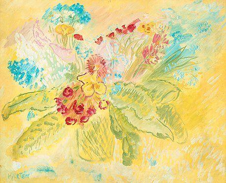 "Sigrid Hjertén 1885-1948 ""Britas blommor"" (Brita's flowers). (d) Signed Hjertén. Canvas 54 x 65 cm."