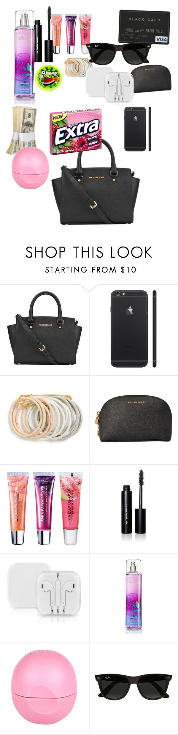 """What's in my purse "" by alana-roan ❤ liked on Polyvore featuring MICHAEL Michael Kors, Odeme, Michael Kors, Maybelline, Bobbi Brown Cosmetics, River Island, Ray-Ban, women's clothing, women's fashion and women"