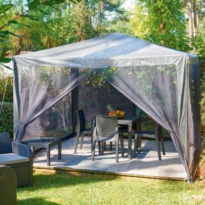 Tonnelle moustiquaire grise - Tonnelle / Pergola / Voile - Mobilier de jardin - Jardin / Plein Air | GiFi