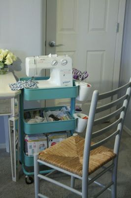 Create a Sewing Cart with  IKEA's RÅSKOG Utility Cart. Great way to store crafts and works like a sewing table.
