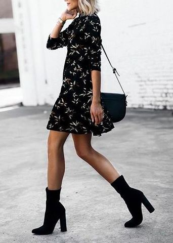 Classically chic, silk shirt dress, block heel ankle boots, cute spring outfits, transitional spring outifts