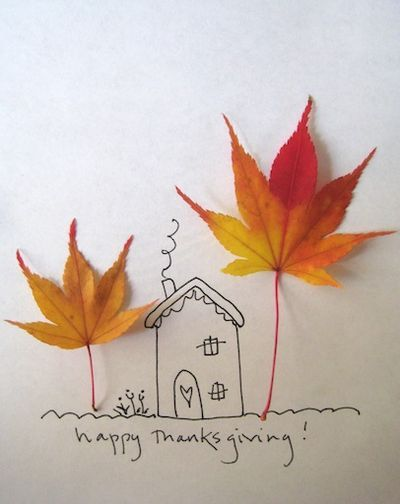 Thanksgiving card - hand drawn and made with fall leaves