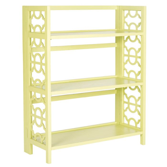 showcasing an openwork design and avocado green finish this elm wood bookcase brings eyecatching appeal to your living room or master suite