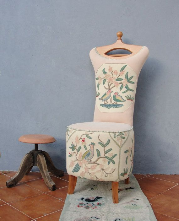 Butler Chair Embroidered Clothes Stand Valet Stand Vanity Stool Wooden Furniture…