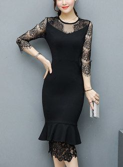 Sexy Hollow Out Pure Color Bodycon Dress