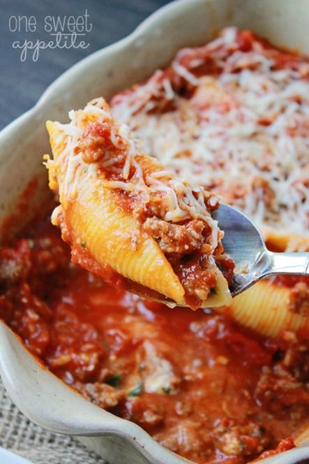 Lasagna Stuffed Shells - Easy To Make Family Recipes | One Sweet Appetite
