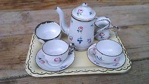 Antigüedad-rara-alemán-blanco-floral-enamelware-niño-muñeca-juego de té-7-pc-marcado