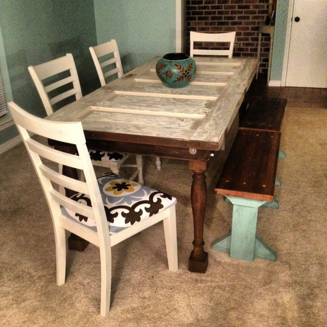 Kitchen Table Made Out Of Old Door