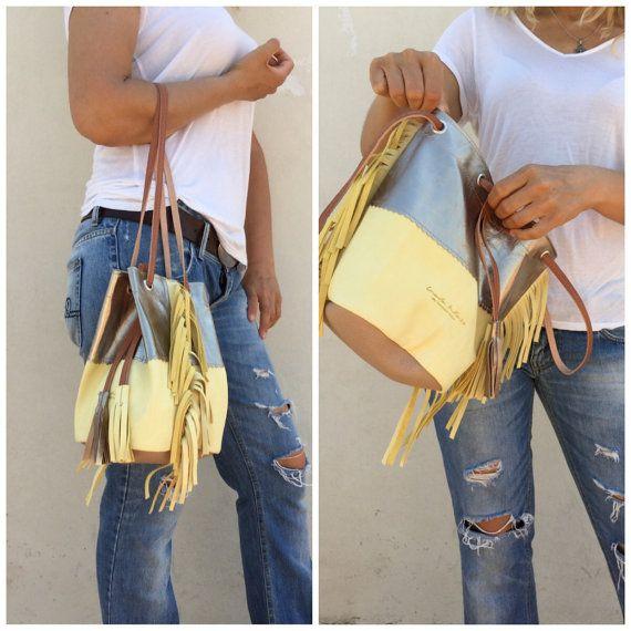 Free shipping/Fringe bag/Buckets bag/Multicolored от LaraKlass