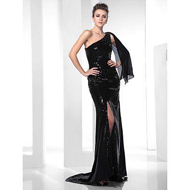 Trumpet/ Mermaid One Shoulder Sweep/ Brush Train Sequined Evening Dress – US$ 199.99