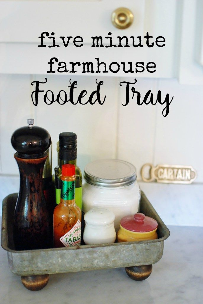 Five Minute Farmhouse Footed tray: With the right garage sale scores and thrift store finds you can whip up your own country living, farm fresh décor on any budget! www.huntandhost.net