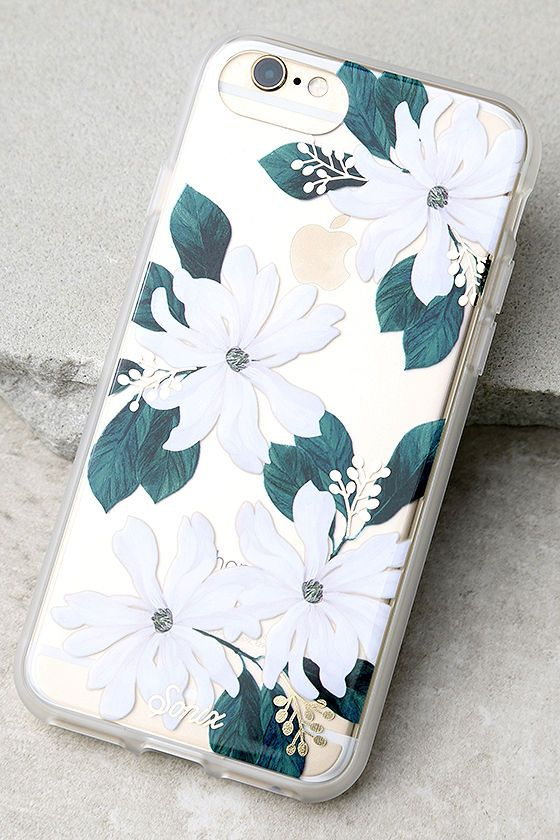 Make your device your best accessory with the Sonix Delilah Clear and White Floral Print iPhone 7 Case! This clear plastic case has a green and white floral print with metallic gold accents, plus shock-absorbent rubber sides, and access to all ports. Fits iPhone 7.