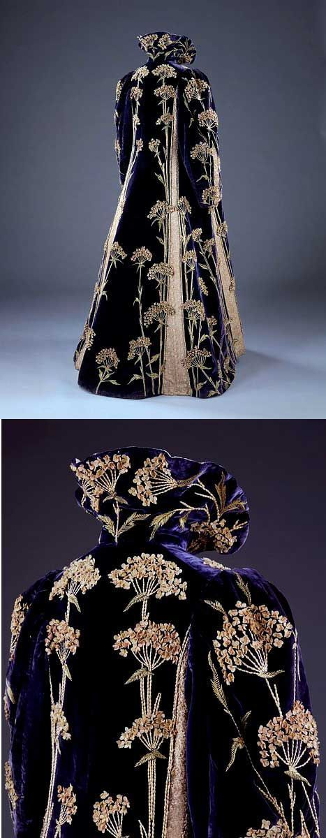 Marshall and Snelgrove Ltd 1895-1900 Purple velvet coat. Entirely covered with dramatic flowers :