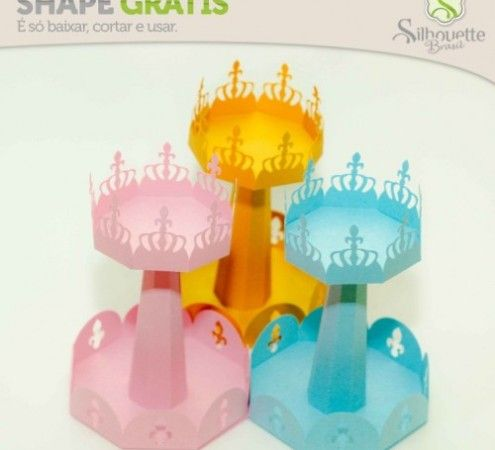 Free Studio file from Silhouette Brasil 3D DIY  Princess/knight cup cake stand with crown and flour de lys decor » Shape 61: Base Cupcake com Bandeja - Silhouette Brasil