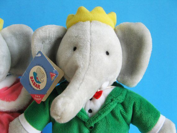 Vintage Babar The Elephant King And Queen Celeste Puppets Stuffed