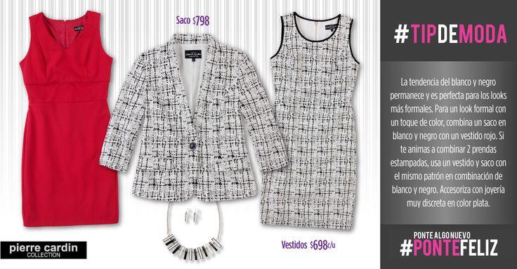 Lleva la tendencia del blanco y negro en sacos para combinarlos con vestidos formales de PIERRE CARDIN, de venta en Suburbia.