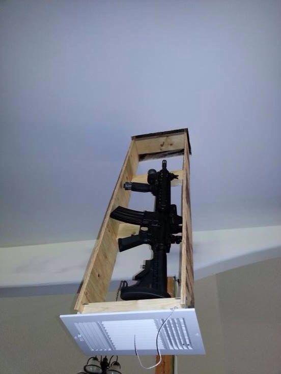 Hidden gun mounted in a fake ceiling vent. Nice!