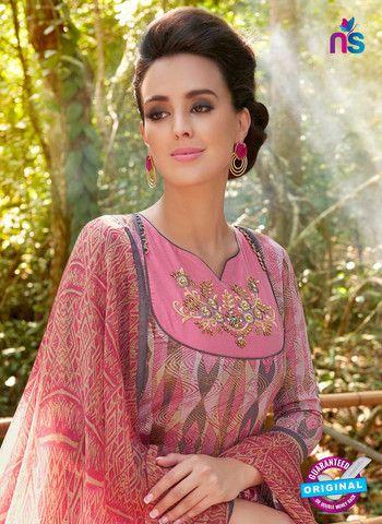 Teazle 2110 Pink & Beige Color Cambric Cotton Designer Suit